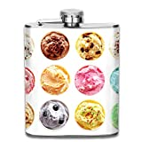 Gxdchfj Overhead View of Rows of Twelve Different Tubs of Colorful Assorted Flavors of Ice Cream with Gift for Men 304 Stainless Steel Flask 7oz