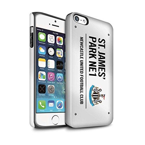 Offiziell Newcastle United FC Hülle / Matte Harten Stoßfest Case für Apple iPhone SE / Pack 6pcs Muster / St James Park Zeichen Kollektion Weiß/Schwarz
