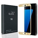 Waylee Samsung Galaxy S7 Edge Proteggi-schermo Ultra Sottile Trasparente Chiaro Vetro Temperato Schermo AntiGraffio Elevata Sensibilità Pellicola Protettiva Salvaschermo Screen Protector (Oro)