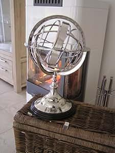 antik chrom sonnenuhr globus deko aluminium b ro wohnzimmer dekoration sehfahrt. Black Bedroom Furniture Sets. Home Design Ideas