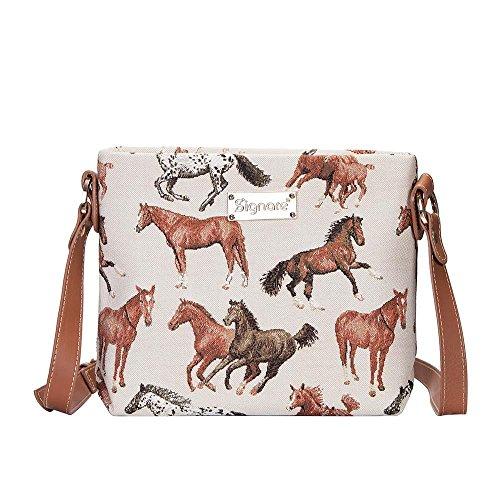 Signare Tapisserie femmes Mini sac en bandoulière sacoche Chevaux de course avec cheval blanc (Xb02-rhor)