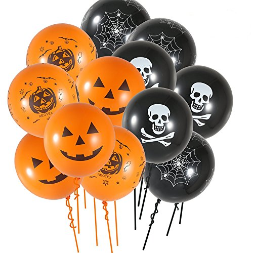 JYSPORT 100 Stück Halloween Ballons Spinnen Latex Luftballons Horror Party HexeBallons für Halloween Party Dekoration