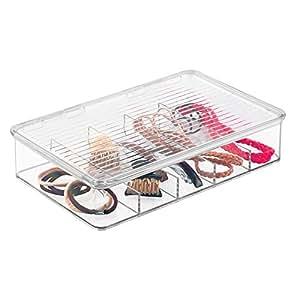 mdesign kosmetik organizer aufbewahrungsbox f r haarschmuck und schminke beh lter f r. Black Bedroom Furniture Sets. Home Design Ideas