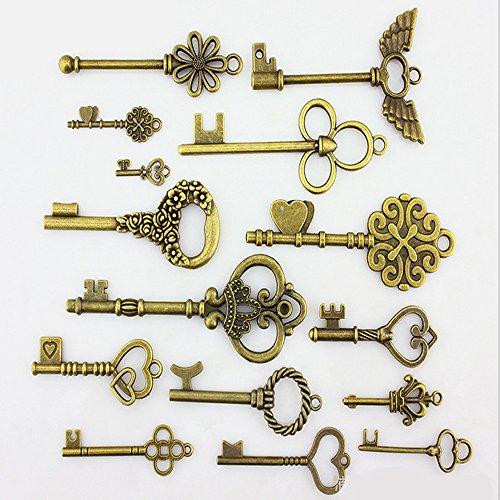Allbusky Llaves maestras vintage y antiguas de bronce, bricolaje para manualidades de bisutería de estilo clásico, marrón, 15 Pack