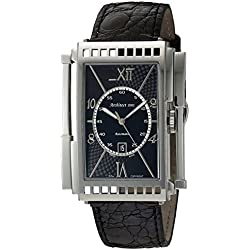 Xezo Mens Architect Swiss Made Curved Automatic Watch in Art-Deco Style. Genuine Leather. Double-curved Sapphire Crystal Glass. Handcrafted Case. 165 FT Water-Resistant. Individually Numbered