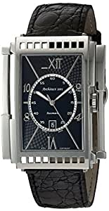 Xezo mens architect swiss made curved automatic watch in art deco style genuine leather double for Xezo watches
