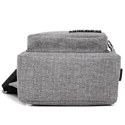 Sling borsa a tracolla, USB Outdoor Sport Casual Canvas sbilanciare zaino crossbody Sling borsa a tracolla by Kangrunmy® Grigio