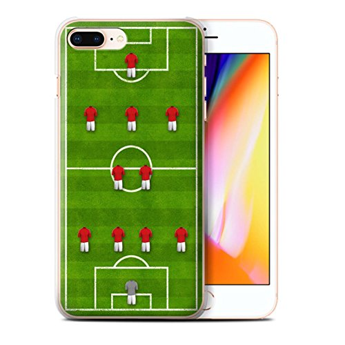 Stuff4 Hülle / Case für Apple iPhone 8 Plus / 4-1-2-1-2/Weiß Muster / Fußball Bildung Kollektion 4-2-3-1/Rot