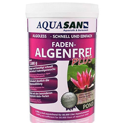 AQUASAN Gartenteich ALGOLESS Faden-Algenfrei Plus (Beseitigt schnell und stoppt Fadenalgen im Teich. Der Fadenalgen-Entferner, Fadenalgen-Vernichter, Fadenalgen-Mittel), Inhalt:2 kg