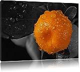 Orange Orangejuice Black Waterdrop on Orange schwarz/weiß Format: 80x60 auf Leinwand, XXL riesige Bilder fertig gerahmt mit Keilrahmen, Kunstdruck auf Wandbild mit Rahmen, günstiger als Gemälde oder Ölbild, kein Poster oder Plakat