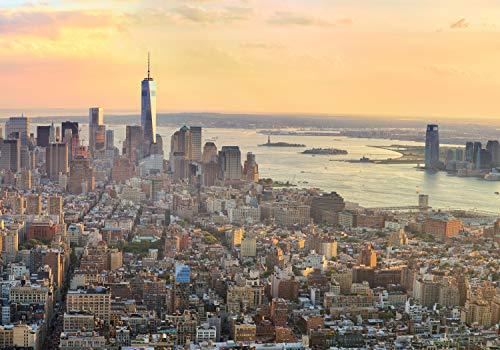 wandmotiv24 Fototapete New York Manhatten XL 350 x 245 cm - 7 Teile Fototapeten, Wandbild, Motivtapeten, Vlies-Tapeten NYC, USA, Ausblick M0728