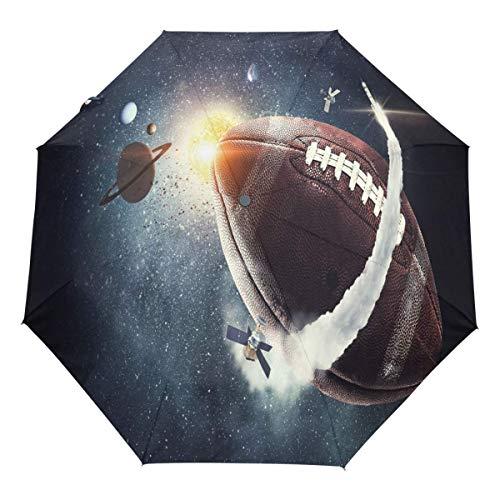 Trushop Ombrello automatico Galaxy Football Planet Auto Umbrella Open Close Space Rocket Umbrellas Windproof Travel Umbrella Lightweight Compact Parasol Umbrellas Sun & R