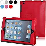 iPad Mini Slim Cover, Ganvol Leather Case for Apple iPad Mini 1 2 3 with Classic Tab Stand [Ultra Slim] [Magnectic Closure] [Velcro Tab] (Red)