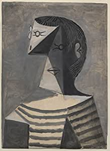 Half Length Portrait Of A Man In A Striped Jersey - Pablo Picasso - Modern Masters Collection - Extra Large Size Premium Quality Art Prints On Photographic Paper (26 inches x 36 inches) For Home And Office Interior Decoration by Tallenge
