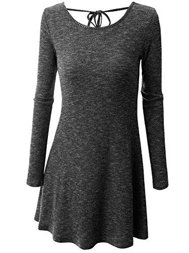 Wenseny Damen Lange Ärmel Basic Passen Schlank Kleid Bowknot Aushöhlen Midi-Kleid Für Party Wochenende Schwarz