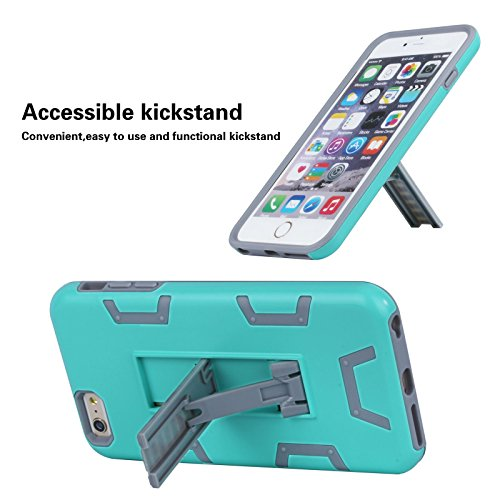 "HYAIT® For APPLE IPHONE 6 PLUS 5.5""Case[C72][METAL][COLOR LINE][Holder] TPU+PC Premium Hybrid Shockproof Kickst Bumper Full-body Rugged Dual Layer Stents Cover-RED&BLACK IPHONE 6 5.5-C72-SKY BLUE&GREY"