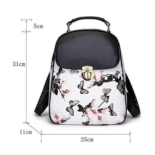 Damen PU Leder Rucksack Handtaschen Schmetterlings-Druck Vintage Reisetasche Schwarz Schwarz