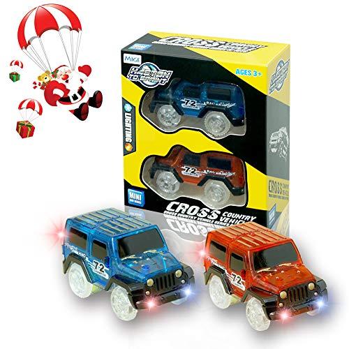 MIGE Spielzeug Auto Spur Led Licht Magic Auto Im Dunkeln Leuchten Zubehör Kompatibel mit den Meisten Auto Rennen Twister Tracks,Ideal Für Childs Geschenke(Packung von 2)