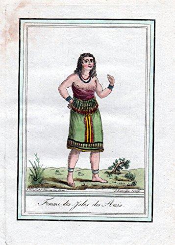Femme des Isles des Amis - Tonga Freundschaftsinsel Pacific Tracht Trachten costume Kupferstich engraving