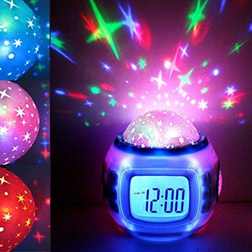STRIR Reloj despertador para niños con termómetro, alarma y calendario-Proyección dinámica de cielo...