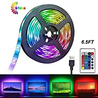 USB Powered 2M LED Strip Light, TV Backlight LED Lights Strip Lighting with 24KEY Remote Control, Multi Color Bias Lights Easy to Stick Strips Lamps for HDTV Laptop PC Monitor