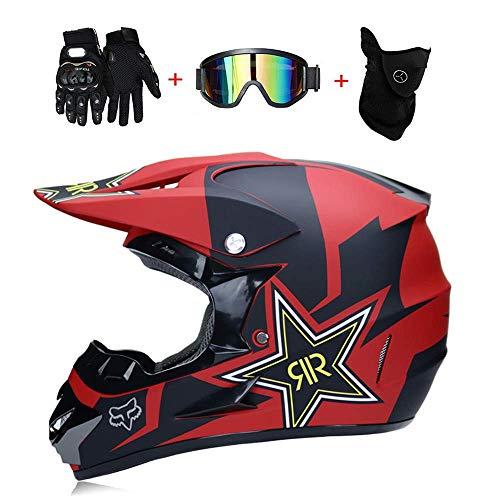 AA-Helmet TOKU Caschi Moto da Cross e Guanti e Occhiali D.O.T Kids Quad Standard ATV Casco Go Kart Fox Rockstar Rosso, Redfox, S55~56CM