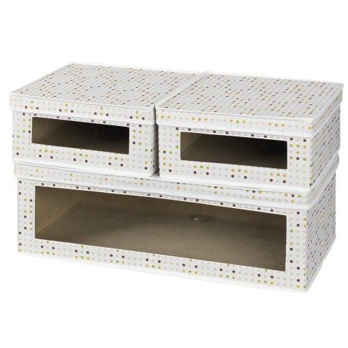 Haushalt Essentials dreiteilige Vision Aufbewahrungsboxen, Leinwand natur mit braunem Rand Colorful Dots Vision Aufbewahrungsbox