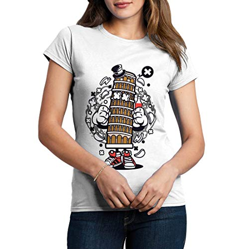 C192WCNTW Damen T-Shirt Pisa Tower Retro Leaning Bell Cathedral Tilt Attraction Roman Italy Tourist Classic(X-Large,White)