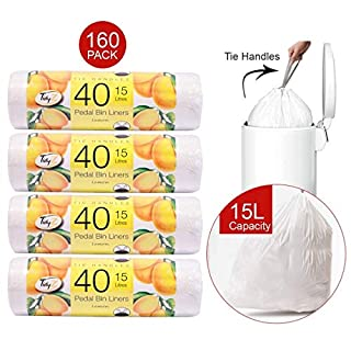 160 Pack Pedal Bin Liners Scented Fragrance 15L With Tie Handles Prevent Odours. Available in 4 Pack of 40 Liners (Lemon)