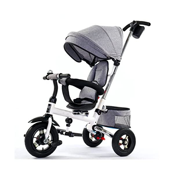 Folding Kids Ride-on Tricycle for Children with Sun Canopy, with 360° Rotating and Reclining Seat (Color : Gray) DUOER-Pushchairs Features assembled canopies without worrying about rain and sunshine,Safety features and safety belts are provided for safety. The pedal can be folded for more convenient use: the pedal can be folded to make travel more convenient. Upgrade the thickened sponge pillow to protect the baby's head and make the baby ride safer. 1