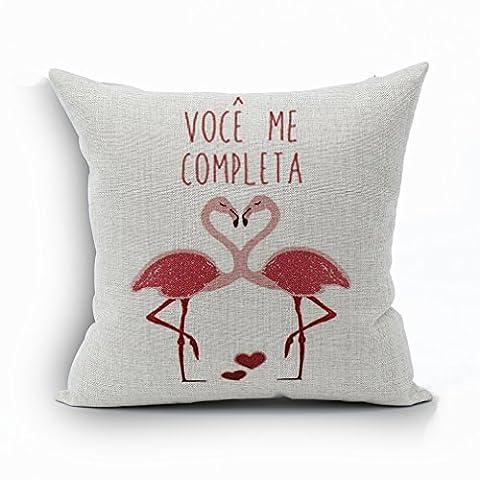 Nunubee Square Home Pillowcase Cotton Linen Decor Soft Pillowcase Sofa Car Cushion Cover Pink Flamingos 3