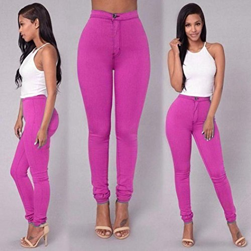 Fulltime® Jeans Denim Jeans Fashion Multi Colours Pantalons Casual Rose vif
