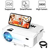 "Mini Beamer, 3800 Lumen TOPVISION Synchronize Smartphone Screen Video projektor, 1080P unterstützt, 176"" Display, 50000 Stunden LED, kompatibel mit HDMI / USB / TV / DVD für Home Entertainment Office"