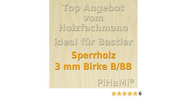 50 x 30cm PiHaMi/® 5 Platten 3 mm Birke Sperrholz Qualit/ät B//BB GP 22,47 /€ pro m/²