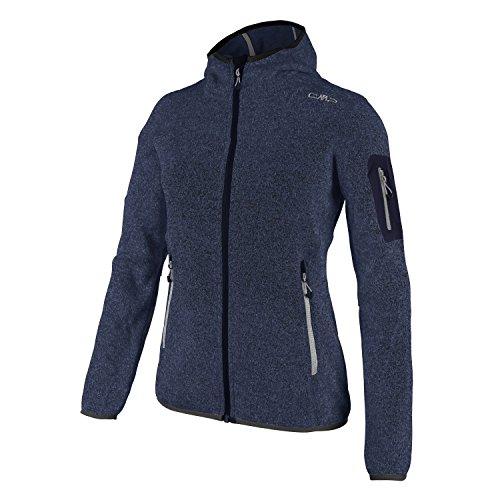 Fleecejacke Sondermodell Kiara Strickfleece Outdoor Jacke CMP für Damen mit Fleece-Innenausstattung und weicher Kapuze- Gr. 38, Dark-Blue-Nero-grau