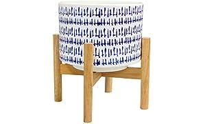 La Jolíe Muse Keramik Blumentopf mit Holzständer -H23cm moderner weißer Übertopf für den Schreibtisch mit hölzernem Pflanzenständer für Inneneinrichtung