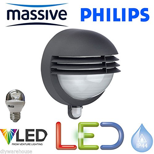 PHILIPS-MASSIVE-LIGHTING-BOSTON-LED-59-WATT-WALL-LIGHT-CW-PIR-MOVEMENT-SENSOR-SECURITY-LANTERN-INCLUDES-LED-LAMP-ENERGY-SAVING-LOUVRED-HEAD-BRIGHT-470-LUMENS-STS