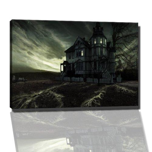 Haus in der Nacht Bild auf Leinwand -- 60x40 cm fertig gerahmte Kunstdruckbilder als Wandbild - Billiger als Ölbild oder Gemälde - KEIN Poster oder Plakat (Spiel Nacht Ps3)