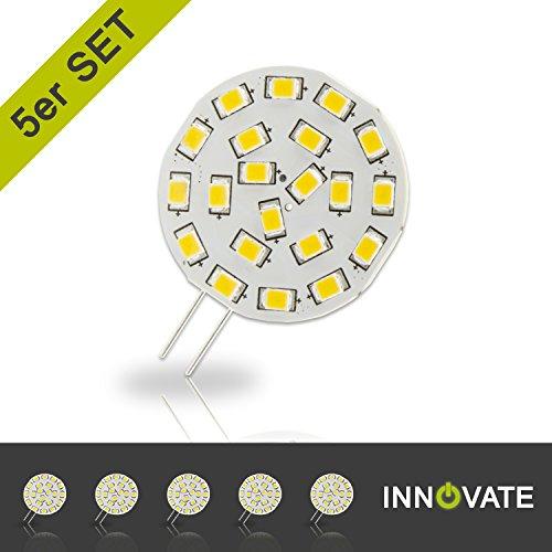 [ 5er Pack / Set ] INNOVATE G4 LED Stiftsockel-Lampe Leuchtmittel 21SMD / 3W - ersetz 15-20W...