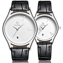 Valentine's Day Gifts, Hansee Lovers' Watches, Leather Band, 2 Pcs Ultrathin Waterproof Quartz Watch (White)
