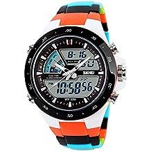 Relojes de pulsera unisex con esfera grande, relojes deportivos de Silicona con correa Impermeable, Reloj digital de colores