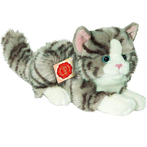Hermann Teddy Collection 906919 - Plüsch-Katze liegend, 20 cm, grau