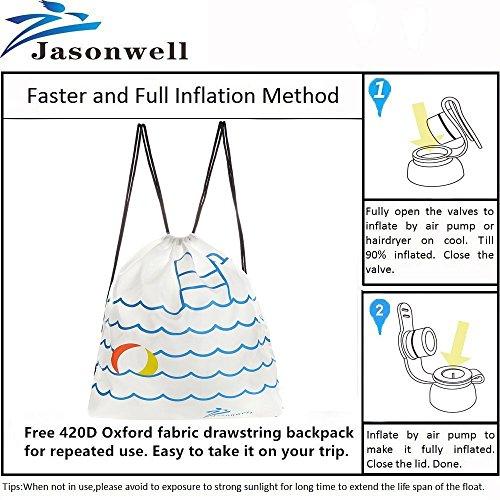 Jasonwell Riesiges Einhorn für Pool-Partys, Aufblasbares Schwimmtier, 120cm breite Luftmatratze - 7