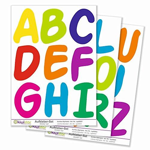 Kiwistar buntes Alphabet, 26 Buchstaben, Gesamtfläche 30 x 20 cm / 3 Bögen, Wandsticker Set Bogen Aufkleber farbig DIN A4 Windows-buchstaben-aufkleber