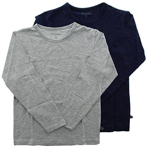 Minymo 2er Pack Kinder Jungen T-Shirt, Langarm, Alter 11-12 Jahre, Größe: 152, Farbe: Dunkelblau und Grau, 3934