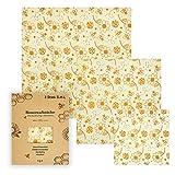 Bienenwachstücher von Bauernladenhelene, 3 Stück im Set (S, M, L)+ gratis E-Book, wiederverwendbar, Wachspapier, für den Lebensmittelgebrauch
