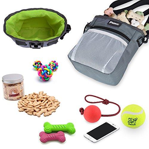 Petacc Futtertasche für Hunde Futterbeutel Hundetraining Verstellbare Hutteraufbewahrung für Hund mit Bauchgurt (160g Mp3-player)
