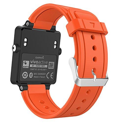 MoKo Sport Armband für Garmin Vivoactive/Vivoactive Acetate - Silikon Uhrenarmband Einstellbar Armband Replacement für Sports GPS-Smartwatch, Orange -