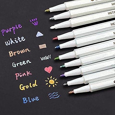 INIBUD Metallic Marker Pens, Satz von 10 Farben für Kartenherstellung DIY Fotoalbum Gebrauch auf irgendeiner Oberfläche-Papier Glas Kunststoff