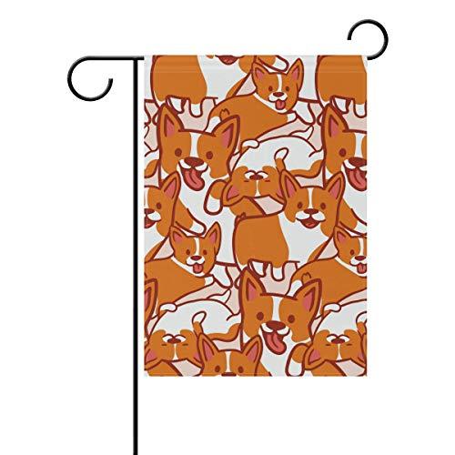 Buyxbn Corgi Hundeflagge, doppelseitig, für den Innen- und Außenbereich, Saisondekoration, Hofbanner aus Polyester, Polyester, Color-1, 28